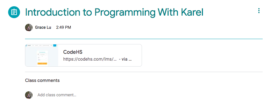 sample google classroom assignment with CodeHS title