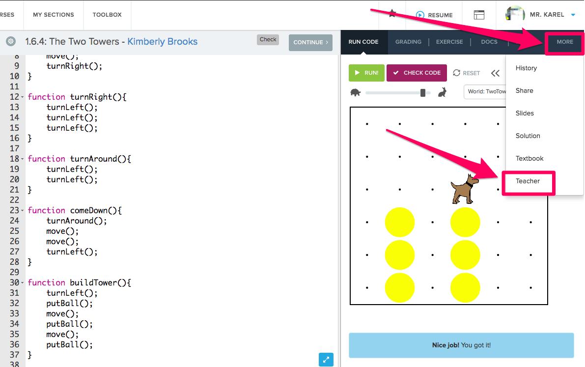 screenshot highlighting More > Teacher to get to the Student Showcase