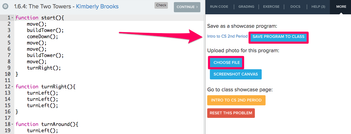Screenshot highlighting the Save Program to Class and how to choose a photo for the program