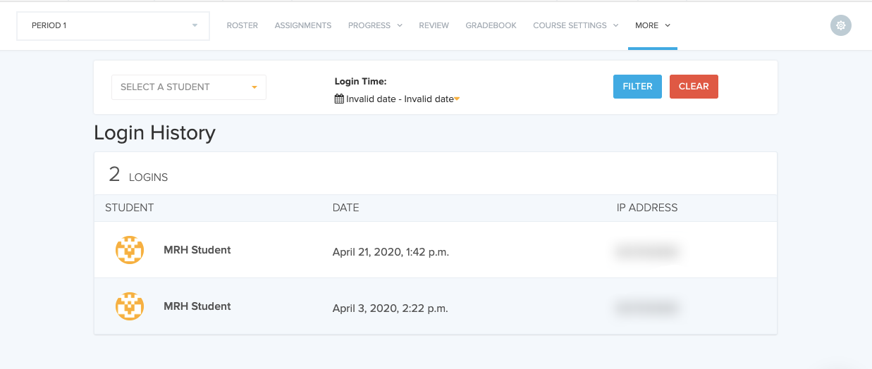 Image showing student Login History