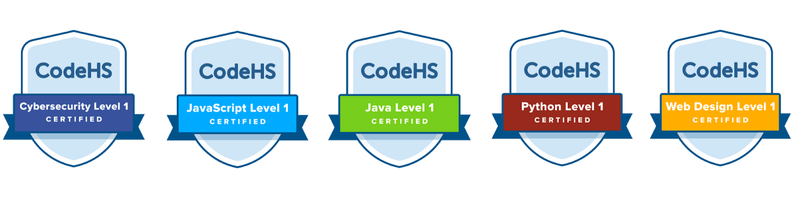 Image showing certification badges for Cybersecurity, Javascript, Java, Python, and Web Design Exams
