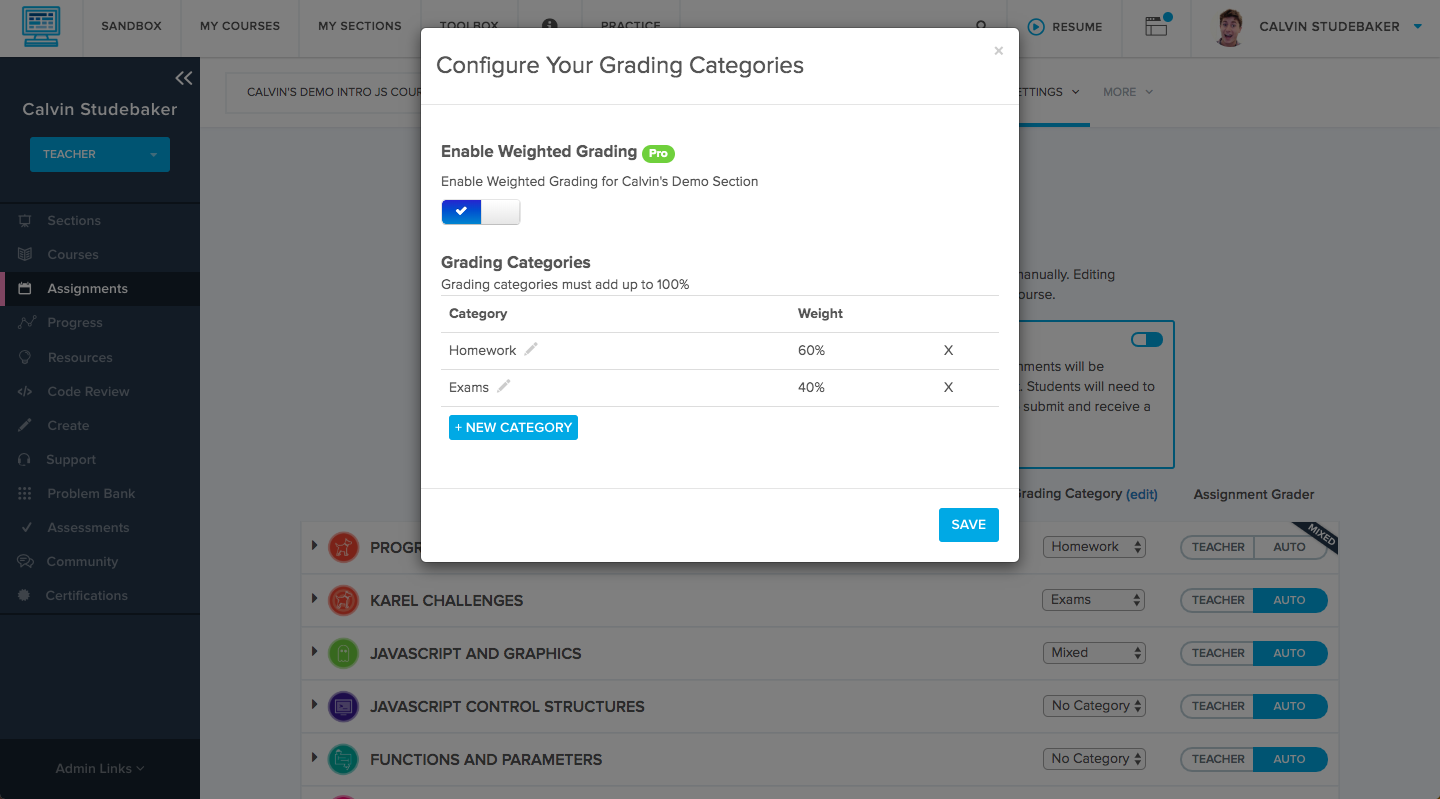 Configure Grading categories pop up menu gives options to create and adjust categories