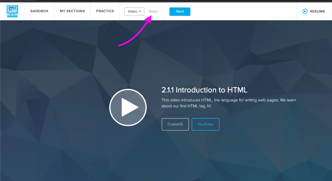 Screenshot of Video page highlighting where students can click to switch to Slides at the top